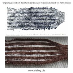 Brettchenweben-Vaalermoor-original-reconIt is a simple brettchengewebtes band that has as 'eyecatcher' a different colored weft.   I have here a pattern of 'textile finds from the Iron Age' of Karl Schlabow rewoven.
