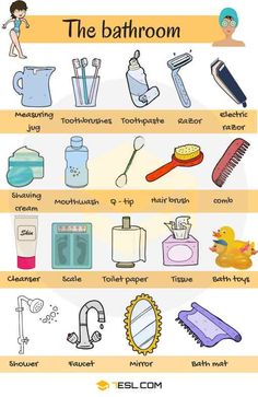 Learn Bathroom Vocabulary in English through Pictures and Examples. A bathroom is a room in the home for personal hygiene … # learn english pictures Bathroom Vocabulary: Bathroom Accessories & Furniture - 7 E S L English Verbs, Learn English Grammar, English Writing Skills, English Vocabulary Words, Learn English Words, English Phrases, Learning English For Kids, English Lessons For Kids, English Tips
