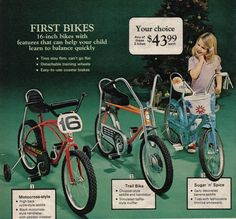 I had a yellow green girls banana seat bike with funky flowers on it and a basket just like this. Handle bars with the tassles, too! Loved my bike!