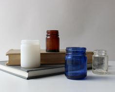 Set of 4 Vintage Glass Jars  Blue Milk Amber and by TheSecondGlass