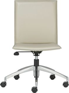 Folio Oyster Leather Office Chair with Hooded Casters  | Crate - I'm thinking this will work for my Yoga Room /  Office. I just can't make up my mind, white, red, green or purple...