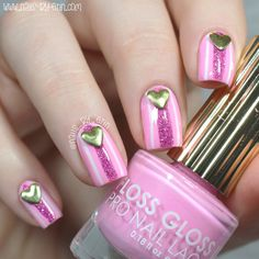 Valentine's Day Nails: Pink Stripes with Heart Studs | NailsByErin <3