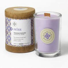 Seeking Balance 6.5 Oz. Geranium Lavender - Relax - Seeking Balance - Jar Candles - Style. Root Candles Available at Memento Gift Shop, Palm Springs. 760-325-1963