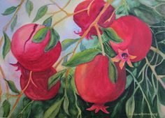 Artist Barbara Rosenzweig's Blog: Art, Gardening, Photography, and Ramblings: POMEGRANATES WATERCOLOR - NEW PAINTING
