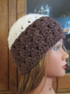 95d4bc91514434 New Hand Crocheted Handmade Women Teen hat/beanie/cloche Cream & Brown  H098