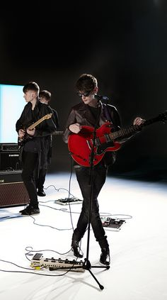 Coastal Cities performing on the set of the Burberry Spark Sunglasses campaign