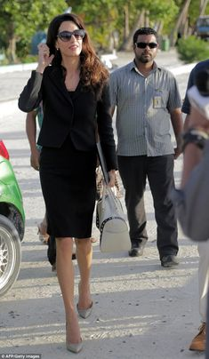 Getting to work: Amal Clooney visited Maafushi jail in the Maldives on Tuesday to meet with jailed former president Mohamed Nasheed