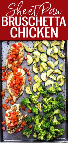 ThisSheet Pan Bruschetta Chicken with broccoli is a healthy one pan dinner idea and one of my favourite healthy summer-inspired meals. Medeteranian Recipes, Clean Recipes, Whole Food Recipes, Chicken Recipes, Cooking Recipes, One Pan Dinner Recipes, Lunch Recipes, Best Fat Burning Foods, Bruschetta Chicken