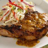 Food Network invites you to try this Peach-Mustard Pork Chops recipe from Food Network Kitchens. Juicy Pork Chops, Boneless Pork Chops, Pork Roast, Pork Loin, Mustard Bbq Sauce, Mustard Pork Chops, Dry Mustard, Pork Chop Recipes, Grilling Recipes