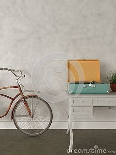 Mock up wall art empty frames retro hipster style house Retro hipster bicycle in. Mock up wall art empty frames retro hipster style house Retro hipster bicycle in front of the wall