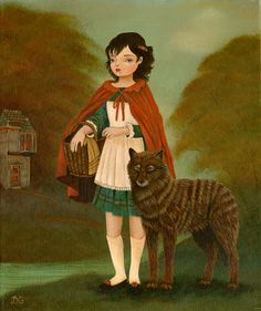 Little Red Riding Hood & The Gentle Wolf 16x20 Print - Fairytale, Blue Green, Red, Teal, Cape, Big Bad Wolf, Forest, French