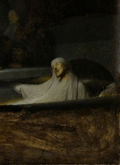 """Detail from """"The Raising of Lazarus"""" an oil-on-panel painting by Dutch artist Rembrandt"""