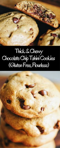 Thick & Chewy Chocolate Chip Tahini Cookies (Gluten Free, Flourless)