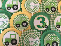 SET OF 12 Green Tractor Cupcake Toppers by mlf465 on Etsy