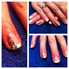 Leopard french shellac nails
