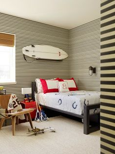 "Like the idea of Horizontal stripes! THIS is such a GREAT IDEA & is a newer, more modern take on the old version of vertical striped walls (which was usually wallpaper w/ thinner stripes). It ADDS ALOT of ""DESIGN"" to your room w/ only using paint! Hence, THIS saves you BIG money & gives you alot of BANG for your BUCK! Great for any room- especially bedroom or bathroom!"