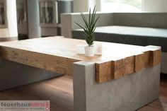 New Coffee Table Ideas - DIY Coffee Tables - Design Rattan Furniture Table Beton, Concrete Table, Concrete Furniture, Concrete Wood, Concrete Projects, Furniture Projects, Wood Table, Furniture Design, Diy Furniture Modern