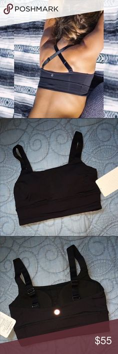 NWT💕Lululemon Two Ways Padded Sports Bra Black Gorgeous bra by lululemon. Adjustable straps that can be crossed or worn straight. Slots for removable padding. Black color. Super supportive for your girls with the extra thick straps. 🚫trades//bundle and savw✅ lululemon athletica Intimates & Sleepwear Bras