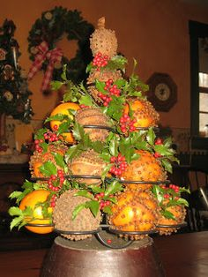 1) fresh oranges (or other citrus fruit - the top of my pomander tree is a lime with a start anise on top.) 2) 1/2 cup of whole cloves for each pomander - buy them in bulk.  3) Plan your design 4)  studding the fruit,use a toothpick to make a hole in the rind first, followed by the stem end of a whole clove.   5) Once you've finished studding the fruit, allow it to air dry, as is, or you can roll it in a mixture of ground cinnamon, ground cloves and ground orris root powder (as a fixative).