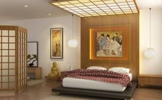Japanese bedroom design with beautiful wooden designs