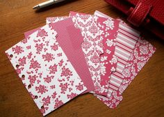POCKET DIVIDERS -  Red Floral  - #348 - Fits Filofax