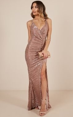Special Moments Dress In Rose Gold Sequin Produced Rose Gold Sequin Dress, Long Sequin Dress, Rose Gold Long Dress, Rose Gold Dresses, Rose Gold Dress Shoes, Champagne Gold Dress, Rose Gold Gown, Sparkly Dresses, Ball Dresses
