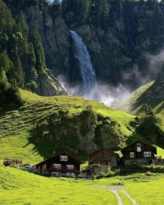 Waterfall, Klausenpass, Switzerland - Switzerland is truly one of the most beautiful places in the world. Places Around The World, The Places Youll Go, Places To See, Around The Worlds, Dream Vacations, Vacation Spots, Greece Vacation, Vacation Resorts, Romantic Vacations