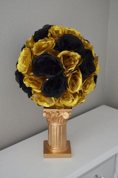 Black and Gold Kissing Ball. WEDDING CENTERPIECE. by KimeeKouture