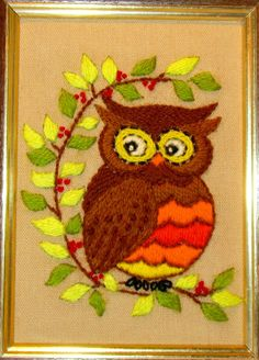 Completed Crewel Embroidery 1970's OWL ON by SuesVintageBuys