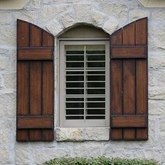 37 Trendy Ideas for exterior wood shutters landscaping Window Shutters Exterior, Cedar Shutters, House Shutters, Diy Shutters, Exterior Stairs, Exterior Doors, Diy Exterior, Outside Shutters, Garage Exterior