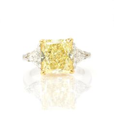 Dream Ring - Fancy Yellow Cushion Cut Diamond with Trillion Cut Diamonds on Each Side