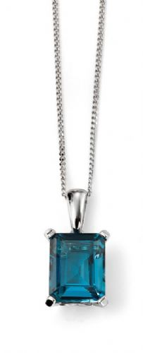 "Elements 9ct White Gold London Blue Topaz Pendant with Gallery Detail with 18"" Chain"