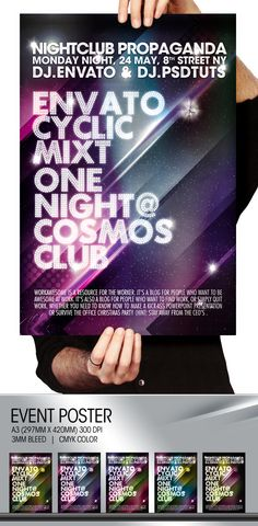 Cosmos Summer Party Night Club Poster