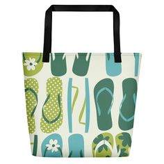 eacbab01957 Beach Bag with our custom flip flop print - Made in the USA