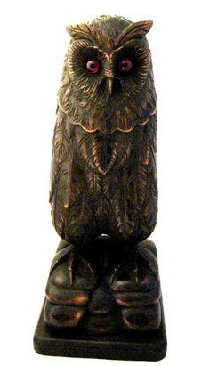 Stunning-black-forest-carved-wood-owl-antique.