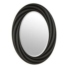 Satin Black Vortex Oval Mirror, 22x30 | Kirklands