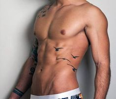 Masculine Bird Tattoos For Men On Side Rib Cage