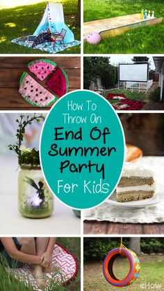 Throw an awesome end of summer party with these decorations and food ideas! From lobster sliders to wine bottle tiki torches and giant versions of your favorite games, this list has everything you need to say goodbye to summer in style: http://www.ehow.com/how_12343429_throw-end-summer-party-kids.html?utm_source=pinterest.com&utm_medium=referral&utm_content=curated&utm_campaign=fanpage