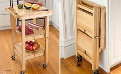 Cute and compact folding kitchen island is light in weight, portable and has smart storage shelves for easy storage. It also has knife slots as well as a chopping board along with a two feet working surface. Great for smaller kitchens or RV's....