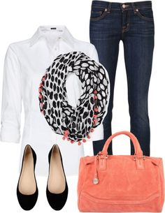 White Shirt Clothing Style for 2014. Scarves and handbags can make a plain outfit memorable.