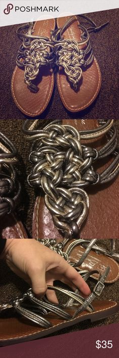 Sam Edelman Knot Sandals Excellent condition only worn once.  Silver and gold metallic knots develop this lovely sandal. Sam Edelman Shoes Sandals