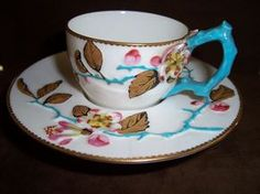 Royal Worcester Very RARE Floral Embossed Trembleuse Cup Saucer C Pre 1883 | eBay - Perfect Condition, Trembleuse (tremble-use), Majolica, Turquoise Twig Handle from 1883...Lovely!