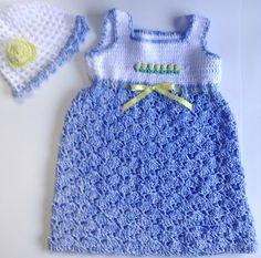 Toddler Blue & White Sundress w Roses and by CrochetedHandmades, $35.00
