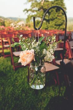 31 august 2013 // front porch farms wedding - charlotte, tennessee // mason jars + shepherds hooks // ceremony details