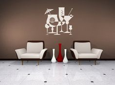 Cocktails, Negative, Positive Space, Martini, Mixed Drink - Decal, Sticker, Vinyl, Wall, Home, Restaurant Decor