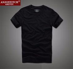 Anjoyfitch&kevin af t-shirt 100% cotton solid O-Neck short sleeve