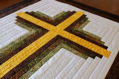 Cross Quilt pattern Log Cabin Christian Cross Twin size: