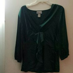 Beautiful Silk Forest Green V-neck with ruffles Silk Forest Green Blouse with ruffles Midnight Velvet Tops