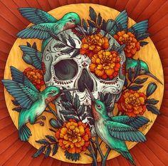 Dia de los Muertos Art Print by Kate O'Hara - X-Small Los Muertos Tattoo, Tatto Old, Aquarell Tattoo, Sugar Skull Art, Sugar Skulls, Mexican Art, Canvas Prints, Art Prints, Wood Wall Art
