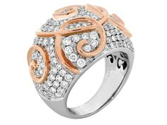 18kt White & Rose Gold Dome Diamond Ring. $6,300.
